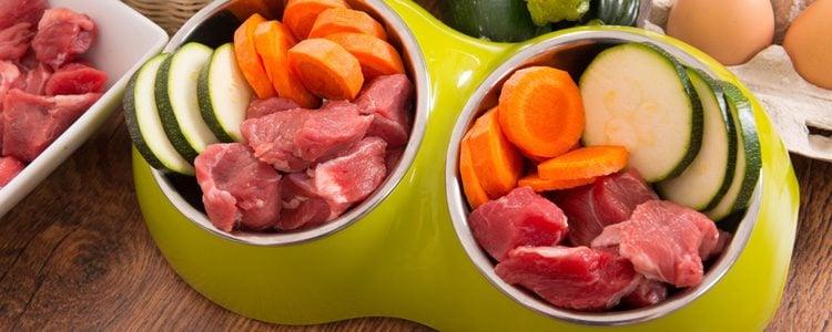 La dieta BARF puede incluir otros alimentos como pescados crudos y frutas y verduras