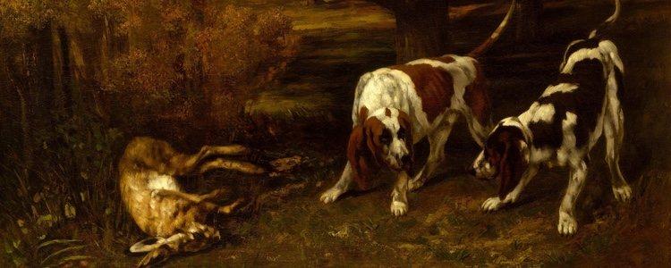 Cuadro del francés Gustave Courbet, Perros cazadores con una libre muerta, 1857